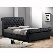 Black Leather Headboard Queen by Baxton Studio Leighlin Black Modern Sleigh Bed With Upholstered