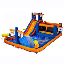Blast Zone Pirate Bay Inflatable Water Park   Hayneedle Water Park Inflatable Games Backyard Slides Toys Outdoor Play Yard Backyard Shark Inflatable Water Slide Swimming Pool Backyards Trendy Slide Pool Kids Fun Splash Bounce Banzai Lazy River Adventure Waterslide Giant Slip N Party Speed Blast Picture On Marvellous Rainforest Rapids House With By Zone Adult Suppliers