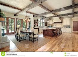 100 Wood Cielings Kitchen With Island And Ceiling Beams Stock Photo