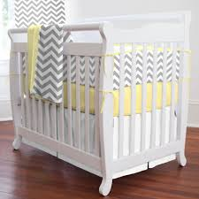 Gray and Yellow Zig Zag Portable Crib Bedding