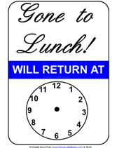 Gone To Lunch Will Return Printable Sign With Clock