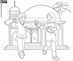 Young Muslims Close To The Mosque Indonesian Children Reading Quran Coloring Page