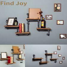 1pc industrielle rohr bad regal metall wand montiert wohnzimmer buch regal dekorative wand holz regal küche bücherregal z29