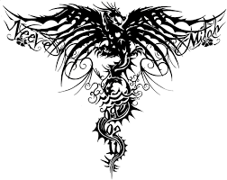 Phenomenal Tribal Dragon With Lettering Tattoo Design