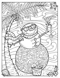 Tropical Snowman Coloring Page Adult Beach Holidays Books