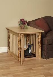 Amazing Pet End Table Wooden Dog Crate With Rustic Log Post ...