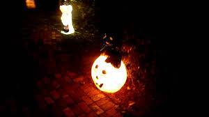 Halloween Blow Mold Display by Lighted Blow Molds Along Walkway Youtube