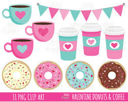 50 SALE VALENTINE CLIPART Coffe And Donut Clipart Donuts Coffee