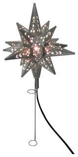 Tin Moravian Star Light Tree Topper Pewter