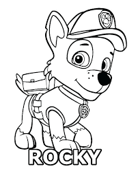 Paw Patrol Coloring Page Pages Rocky Colouring Marshall Sheets