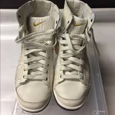 Retro Nike Cream And Gold High Top Sneakers