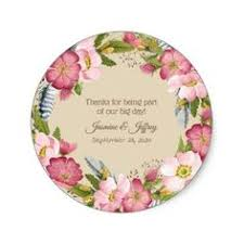 Wild Roses Flower Rustic Wedding Thank You Classic Round Sticker