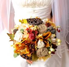 WEDDING BOUQUET Autumn Rustic Silk Burlap And Lace Fall Wedding Bridal Bouquet