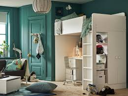 Childrens Bedroom With Turquoise Walls And White Loft Bed Desk Drawers Underneath
