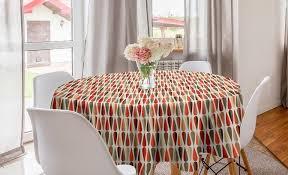 abakuhaus tischdecke kreis tischdecke abdeckung für esszimmer küche dekoration geometrisch 70er jahre retro stil kaufen otto