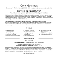 Resume Objective Examples Network Administrator New Sample For An Experienced Systems