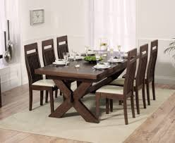 Padova Solid Dark Oak 200cm Extending Dining Set With 6 Essex Cream Chairs