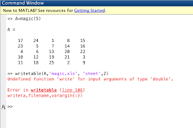 writetable error undefined function write for input arguments