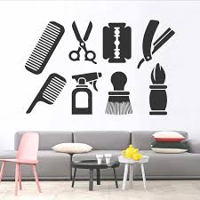 haar salon vinyl wasserdichte wand kunst aufkleber wohnzimmer haarschnitt wand aufkleber frisur decorationremovable wand kunst wandbild hl80