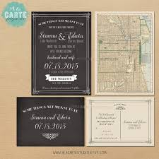 Antique Map Chalkboard Inspired Wedding Invitation And RSVP Card