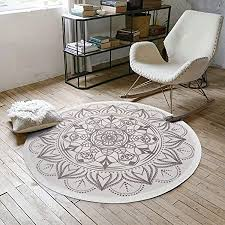 shacos vintage teppich rund 120cm grau baumwollteppich waschbar groß mandala teppiche wohnzimmer schlafzimmer