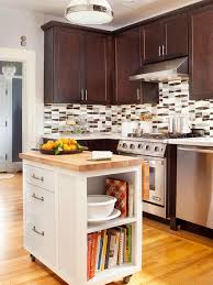 Small Kitchen Storage On Wheels With Bookshelf One End Flip Up Counter
