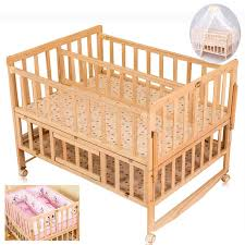 Baby Twins Crib With Mosquito NetDouble Infant Wooden Bed Can Joint Adult