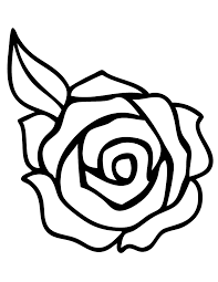 Rose With Leaf Coloring Page