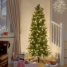 8ft Aspen Pine Luxury Pre Lit Premium PE Slim Christmas Tree