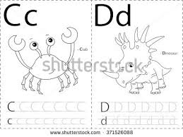 Cartoon Crab And Dinosaur Alphabet Tracing Worksheet Writing A Z Coloring Book Educational