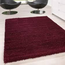 hochflor langflor wohnzimmer shaggy teppich unifarbe florhöhe 5cm rot