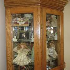best lighted 3 sided curio cabinet or display cabinet for sale in