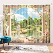 Highquality Landscrape 3D Printed Window Curtain 2 Panel Blackout