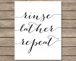 Etsy Bathroom Wall Art by Rinse Lather Repeat Printable Instant Download Printable