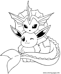 Vaporeon And Eevee Pokemon Coloring Pages