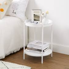 vasagle beistelltisch let221w10 let221b01 let221b16 couchtisch 2 ebenen rund abnehmbare schale metallgestell schlafzimmer weiß kaufen