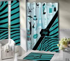 Paris Themed Bathroom Ideas by Stylish Paris Shower Curtain Aqua Blue Bathroom Theme Eiffel