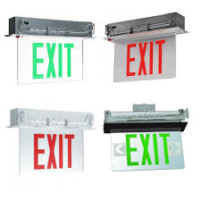 edge lit led exit sign with aluminum canopy