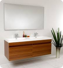 48 Inch Double Sink Vanity Canada by Fresca Largo Teak Modern Bathroom Vanity And Wavy Double Sinks