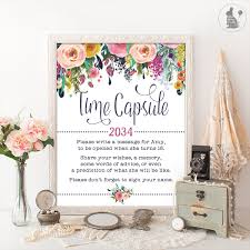 TIME CAPSULE Floral Baby Shower Table Sign Decoration Girls