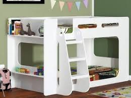 White Short Height Bunk Bed Extra Low Bunk With Storage Shelf
