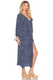 faithfull the brand atlas story stripe wrap maxi dress in white lyst
