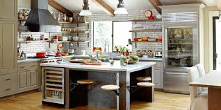 KitchenRustic Style Kitchen With White Scheme And Brick Wall Breakfast Nook Warm