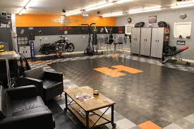 RaceDeck Garage Floor Makes This Harley Davidson Theme Shed