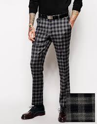 men u0027s gray slim fit smart trousers in tartan tartan gray and
