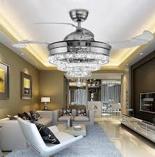 2018 Modern 3 Rings Led Invisible Retractable Crystal Fan Light Living Room Lights Restaurant Chandelier Bedroom Pendant Lighting From Ok360