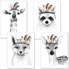 poster set kinderzimmer wohnzimmer schwarz weiß bilder babyzimmer im skandinavischen stil giraffe fuchs sw