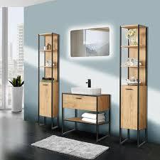 badezimmer set industrial style eiche schwarz keramikbecken