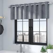 gray silver valances kitchen curtains you ll love wayfair