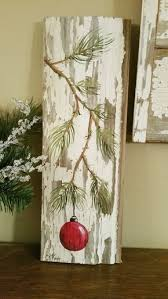Red Hand Painted Christmas Decoration GIFTS UNDER 25 Pine Branch With RED Bulb Reclaimed Barnwood Pallet Art Shabby Chic